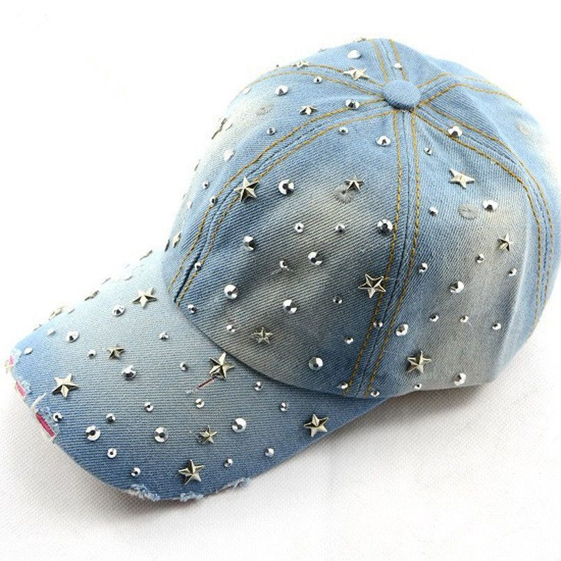 Fashion spring and summer women's baseball cap sunbonnet cap handmade Novelty rhinestone star pasted hat WH015