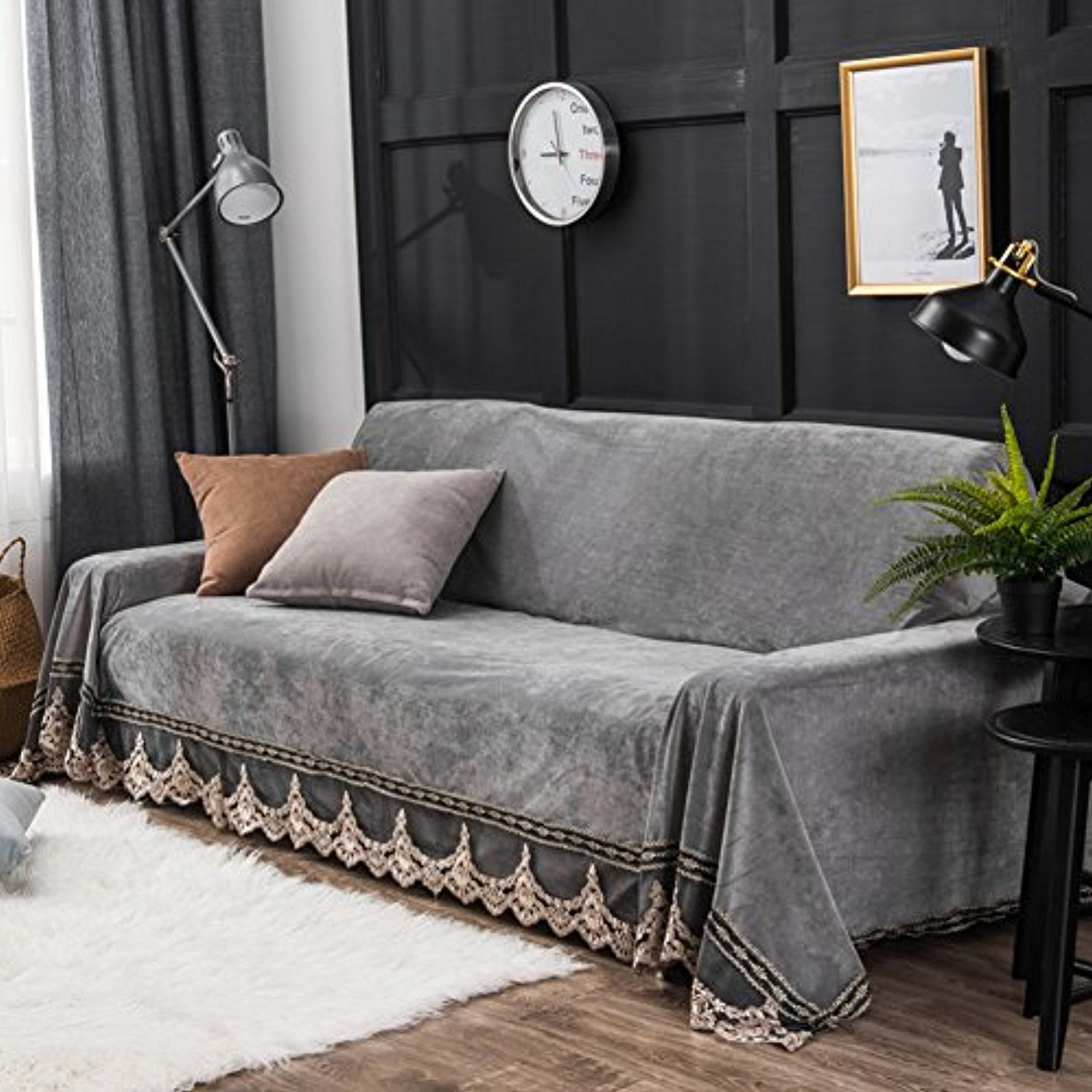 Pleasant Plush Sofa Slipcover 1 Piece Vintage Lace Suede Couch Cover Pabps2019 Chair Design Images Pabps2019Com