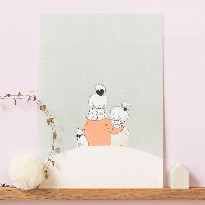 Affiche Mère et fille sous la neige sur lepetitflorilege.com