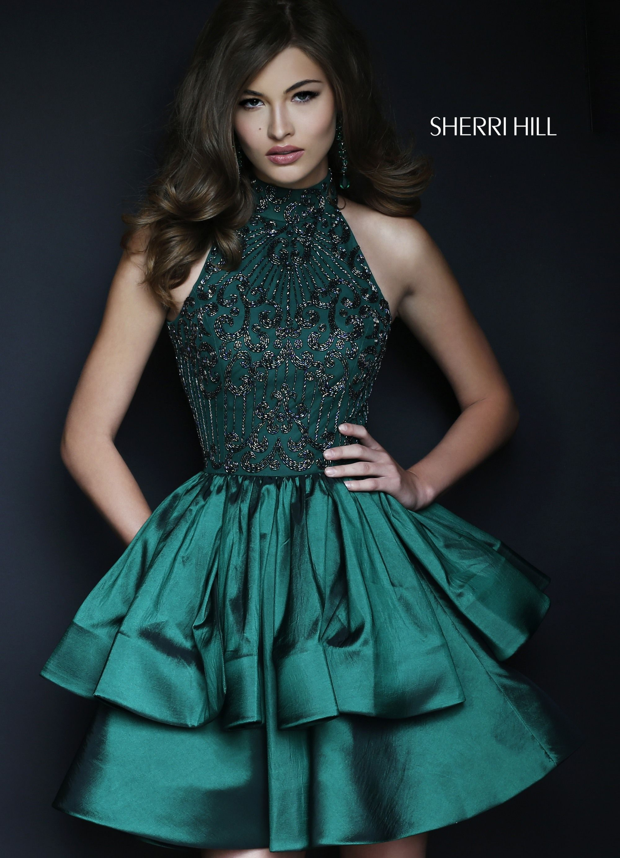 950d63275c SHERRI HILL 32338 Emerald Green Fall 2017 Collection YPSILON DRESSES Short  Dress with Double Layer and High Neckline prom pageant homecoming  sweethearts ...