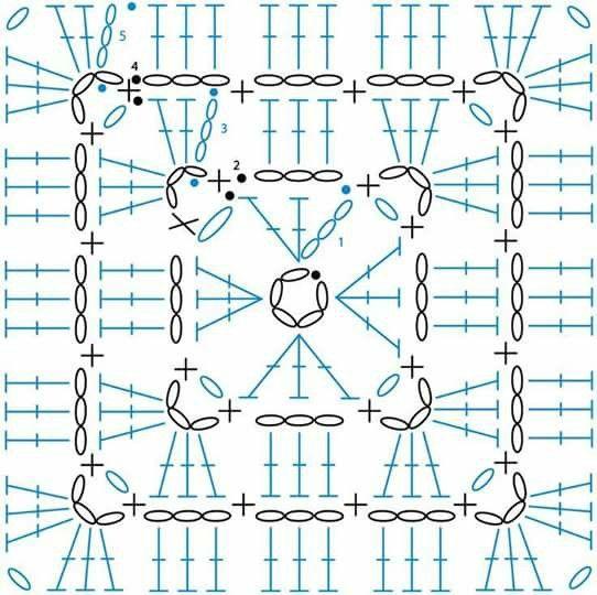 granny square crochet motif chart pattern | Крючком квадраты ...