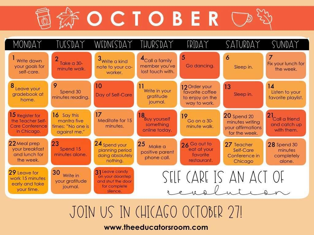 [October] Teacher SelfCare Calendar... DOWNLOAD NOW