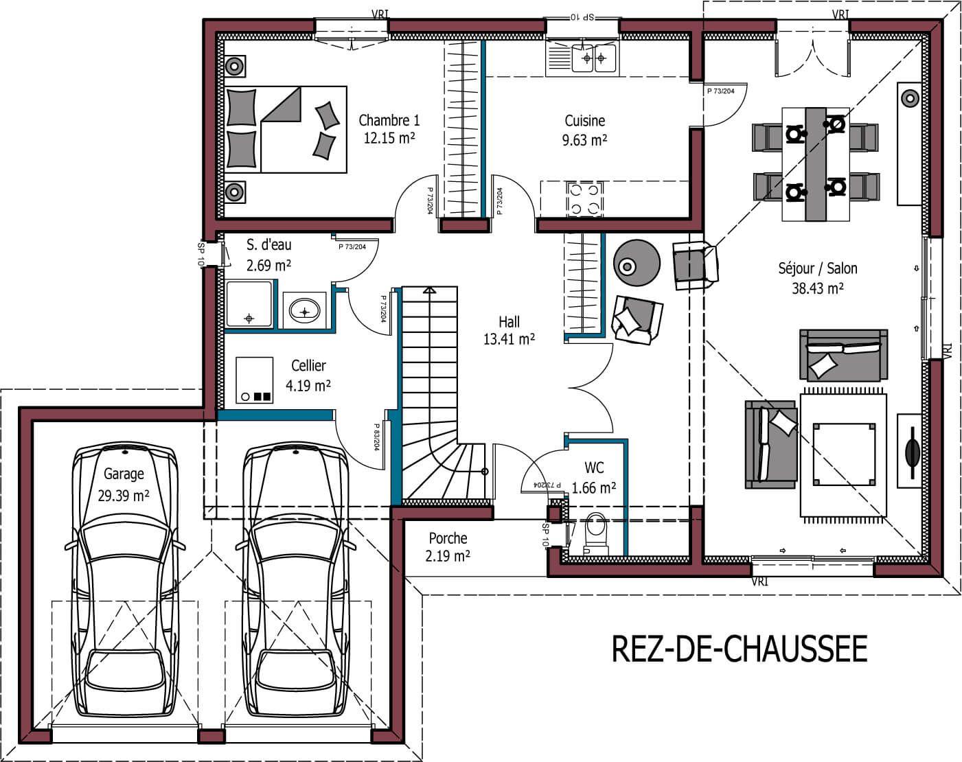 plan de maison avec double garage