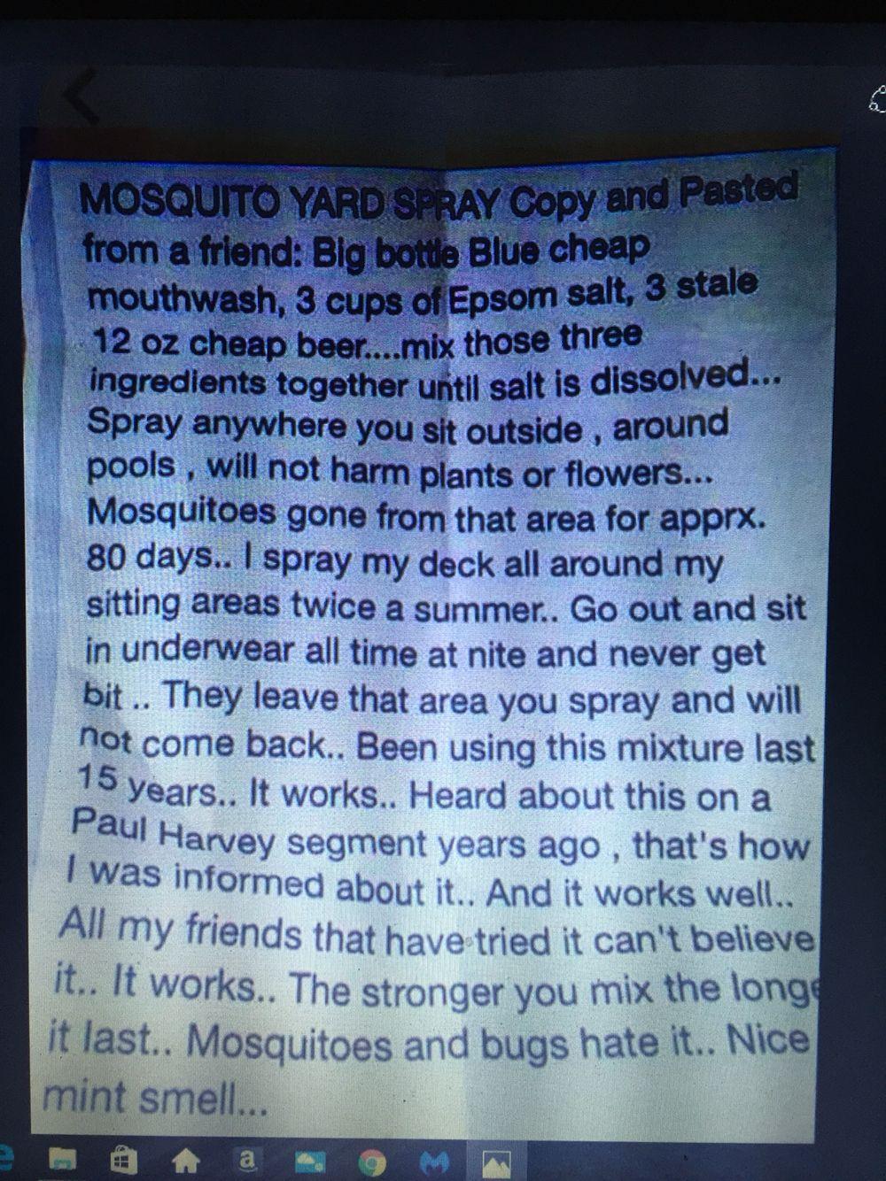 DIY mosquito repellent yard spray Diy mosquito repellent