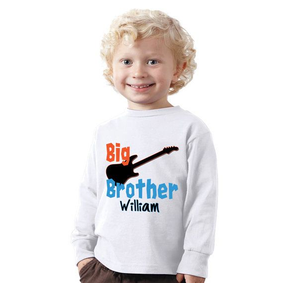 Personalized Big brother Shirt with black guitar by shirtsbynany, $14.99