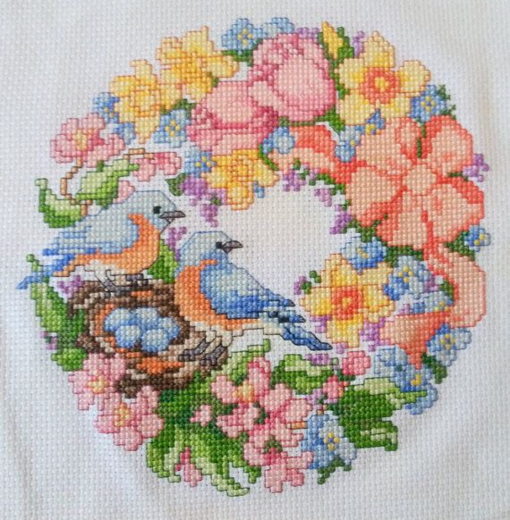 Spring+Wreath+crossstitch+by+KatheStitches+on+Etsy