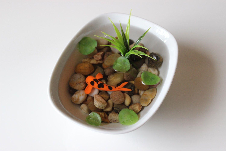 Miniature koi pond in porcelain bowl fake koi pond