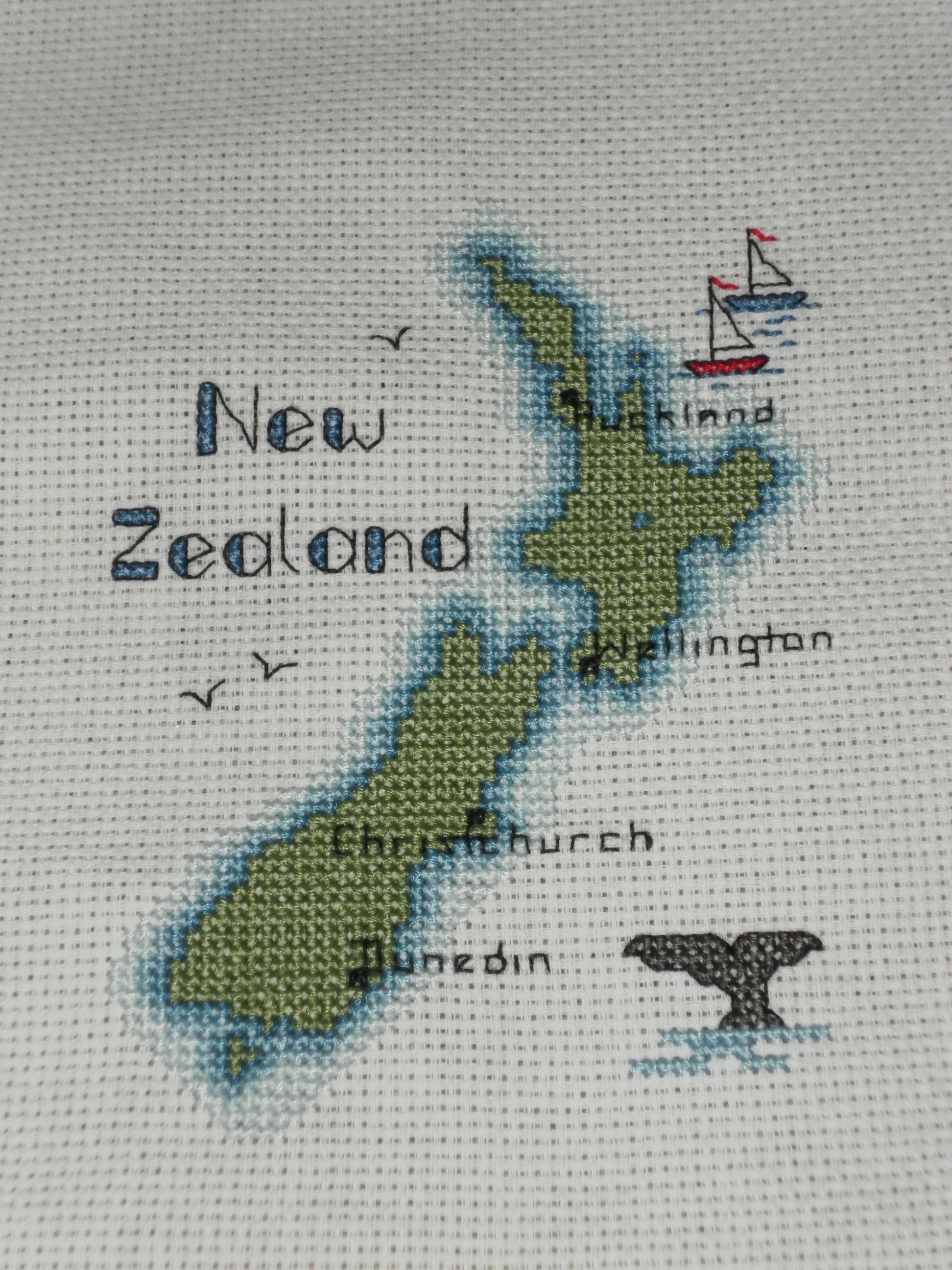 New Zealand Map Cross Stitch Project Finished Cross