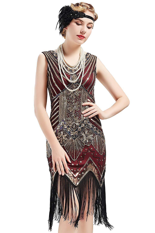 BABEYOND Women's Flapper Dresses 1920s V Neck Beaded ...