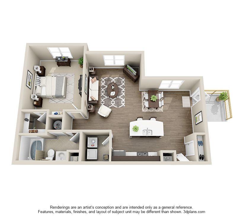 The Linden 1 Bedroom 1 Bathroom Has 818 847 Sf Indoor Outdoor Fireplaces Apartment Floor Plans Tiny House Plans