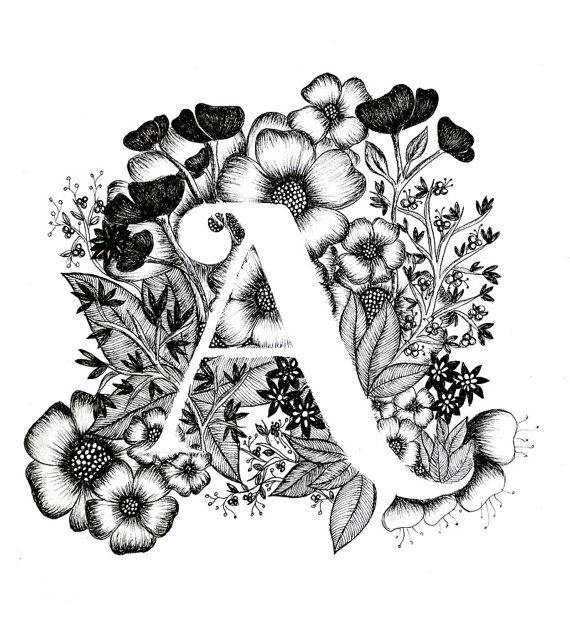 Letter a print alphabet calligraphy typography monogram flowers black and