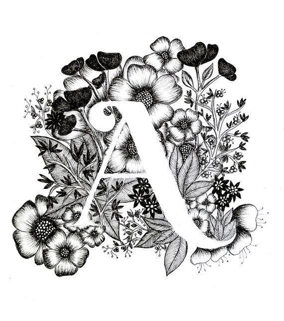Brief eines grafik alphabet kalligrafie typografie von for Einfache leinwandbilder