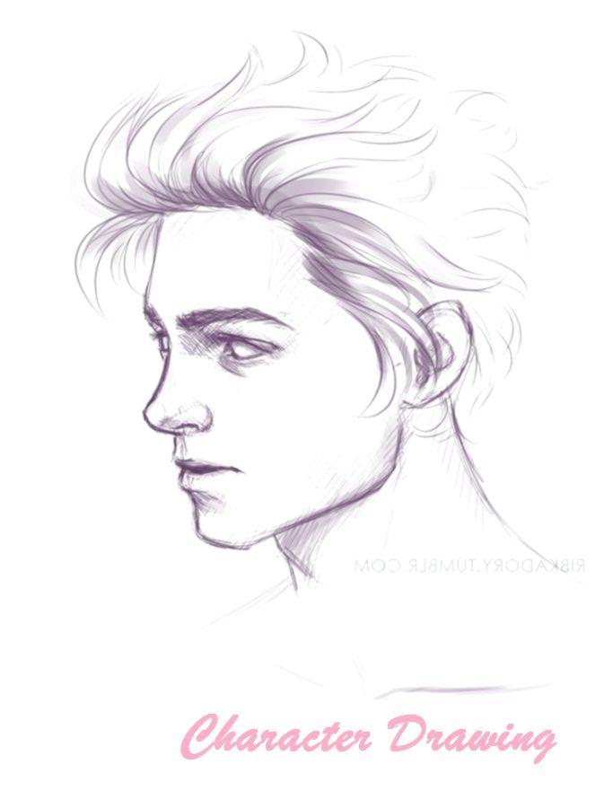 Guy Drawing Digital Long Hair Side View 19 20 Realistic Cartoon Realistic Cartoons Long Hair Styles Drawings