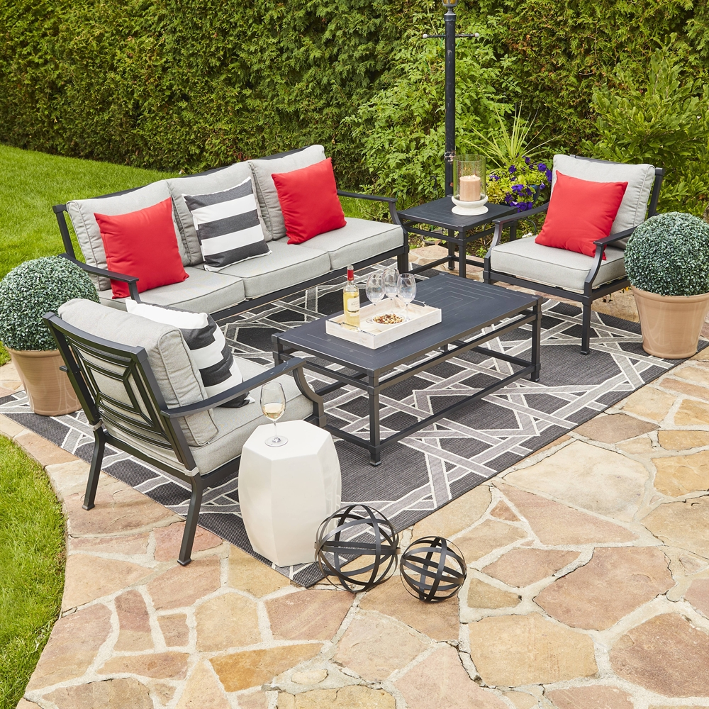 Allen Roth Earl Crest 4 Piece Conversation Set Lowe S Canada Outdoor Conversation Sets Outdoor Furniture Sets Outdoor Dining Chairs