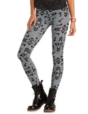 geo stripe cotton legging