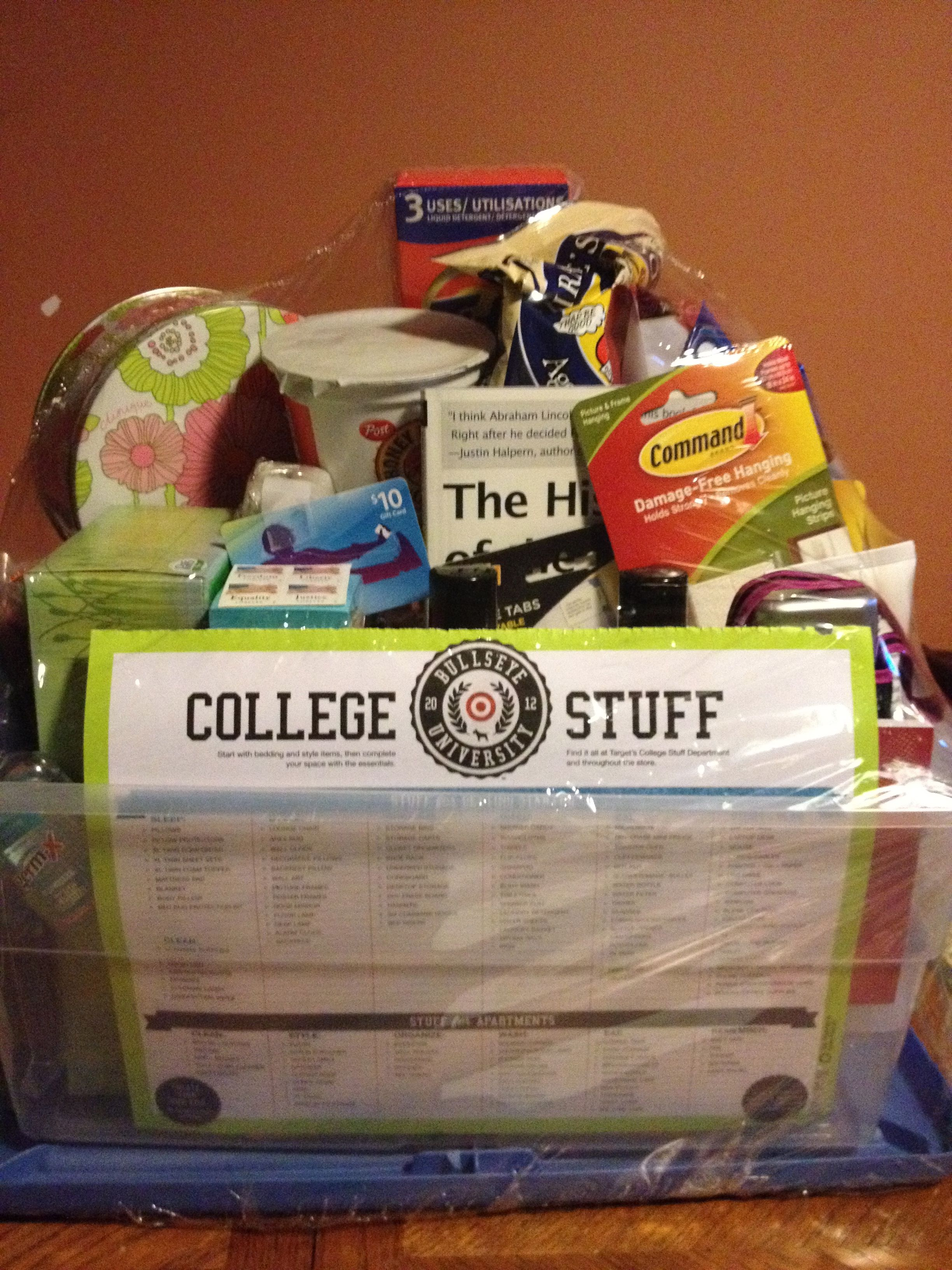 Put this fun gift basket together for my niece who is off to college put this fun gift basket together for my niece who is off to college this week included tervis cup tazo tea laundry stuff bath stuff snacks etc negle Image collections