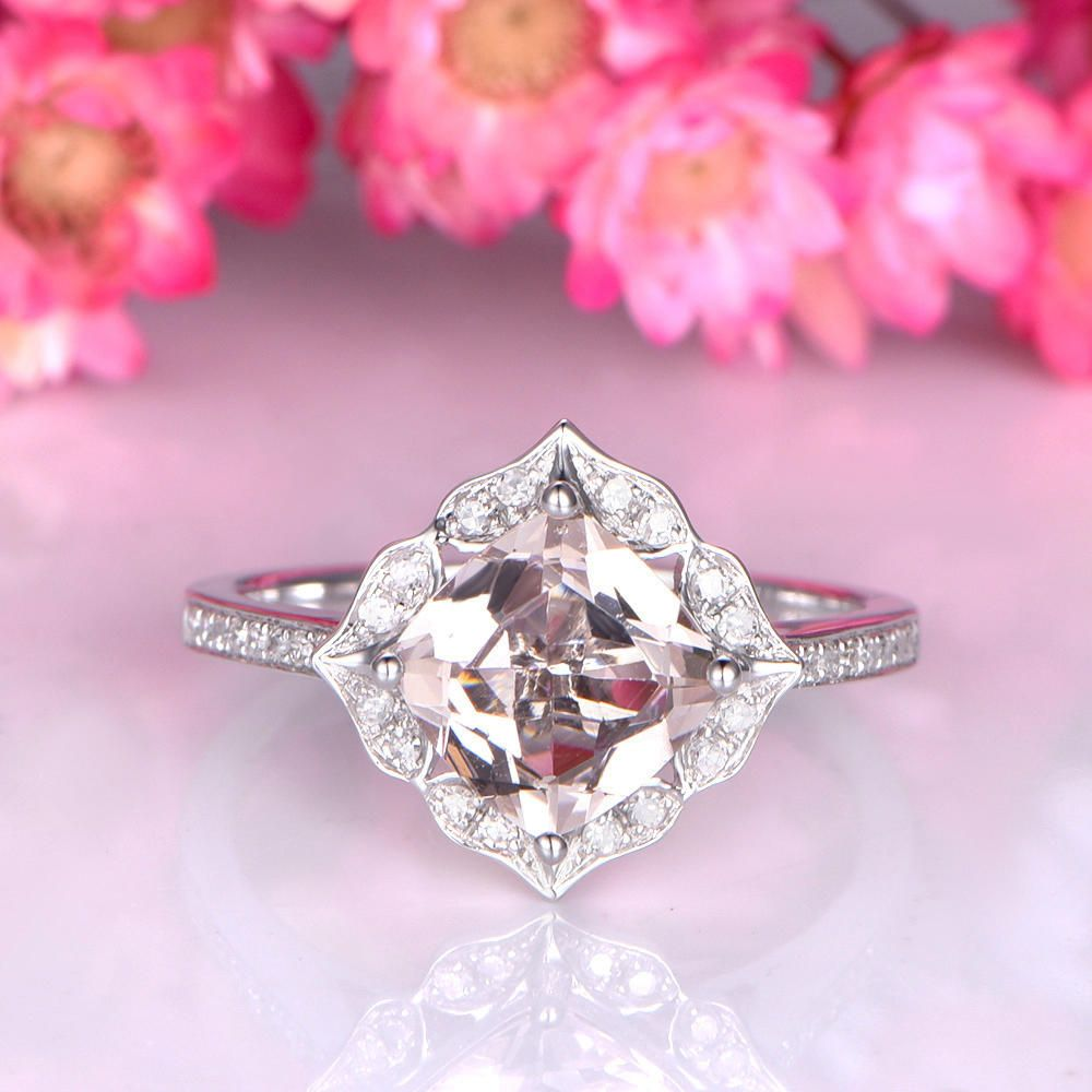 Floral morganite engagement ring 7mm cushion cut morganite ring 14k ...