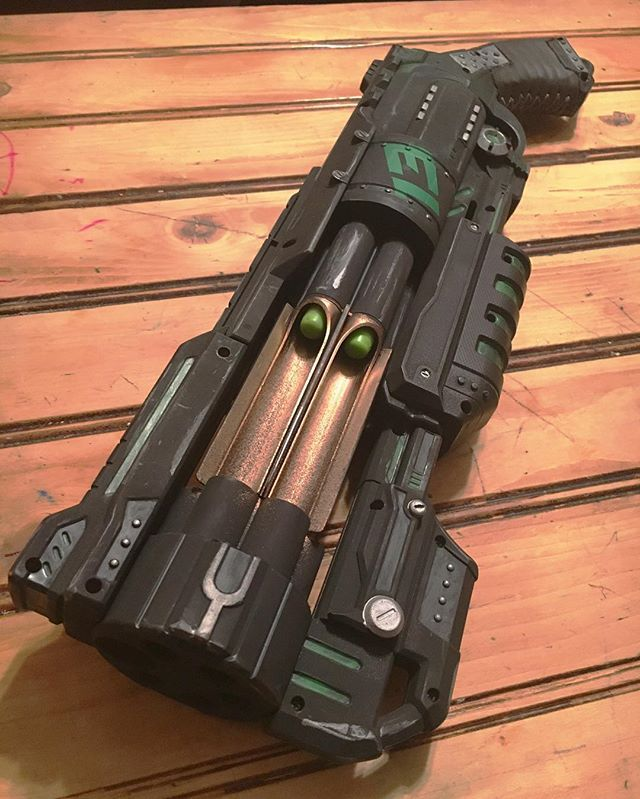I did a nerf gun up for my nephew, now that he's got it, I can show ya'll!  Nerf Doomlands Vagabond, leather wrap on grip, glow in the dark accents  with a ...