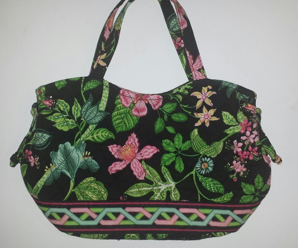a1770a726f Vera Bradley Purse BOTANICA Sherry Snap Closure Black Quilted Floral  Retired pattern. Sherry style purse