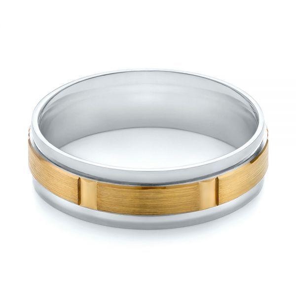 This twotone mens wedding ring features a brushed yellow gold