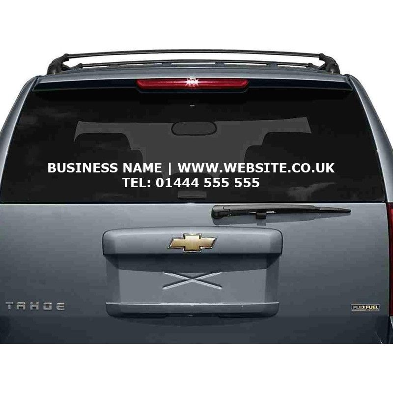 Car window sticker website business name phone number decal