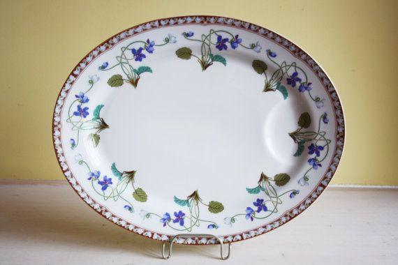 Limoges, Haviland, Impératrice Eugénie, violets, medium oval platter, exclusive service, France, French dinnerware, Léonce Ribière