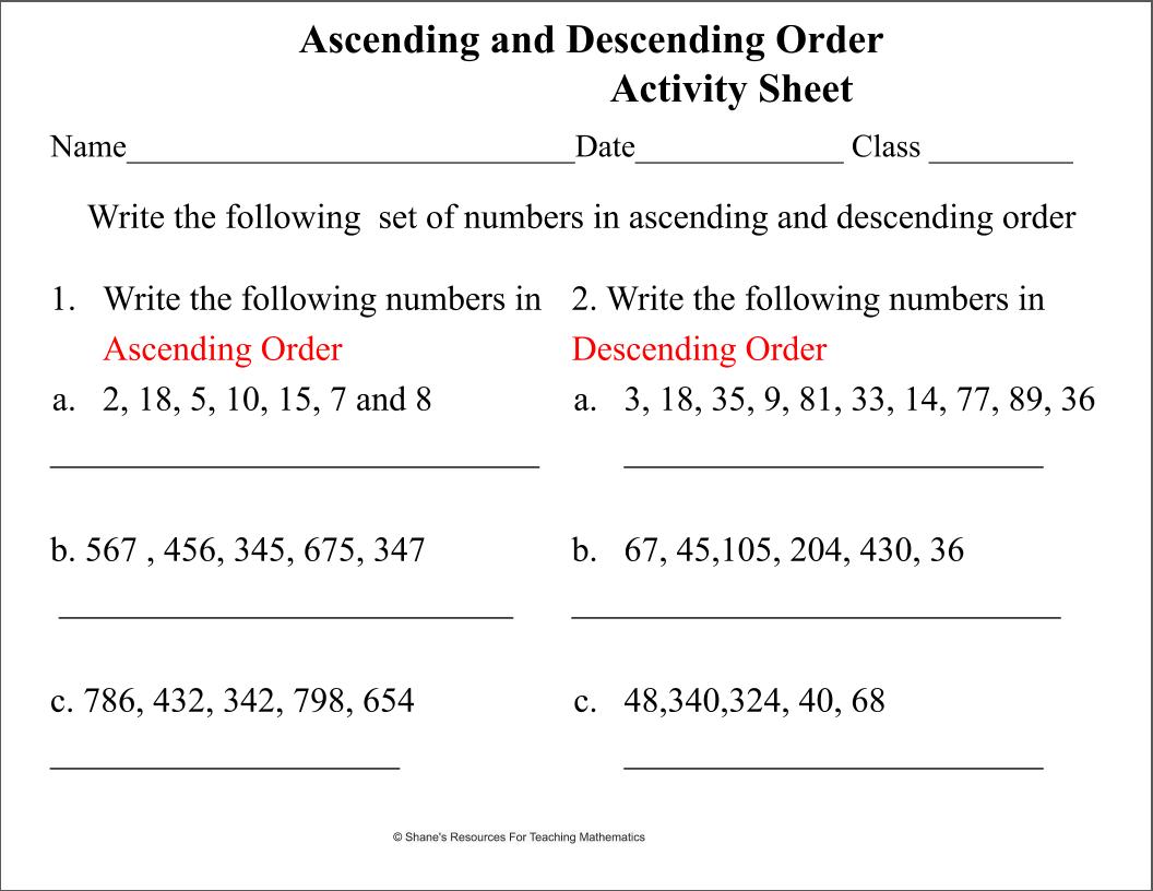 Ascending And Descending Order Activity Sheet Teaching Mathematics Teaching Math Mathematics [ 816 x 1056 Pixel ]