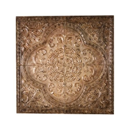 "Embossed Tiles Wall Decor Tuscan Embossed Ceiling Tile Design 31"" Square Wall Decor"