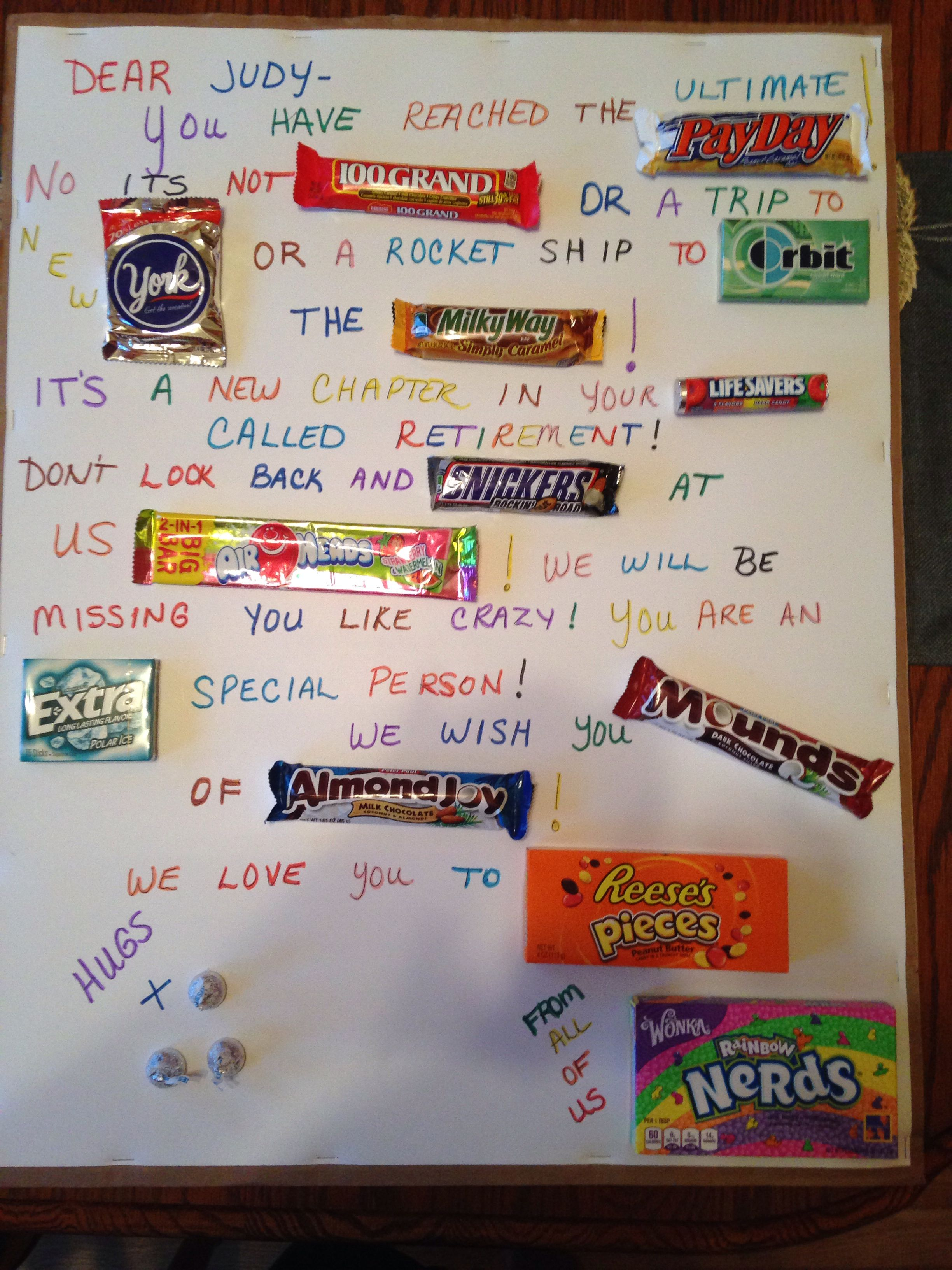 Retirement candy gram for a dear co