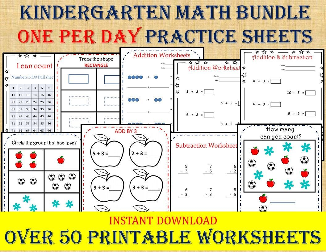 Kindergarten Math Bundle One Per Day 50 Worksheets Instant Etsy In 2021 Kumon worksheets pdf preschoolers