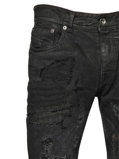3db924ee548 Diesel Black Gold 17cm Wool Patched Destroyed Denim Jeans