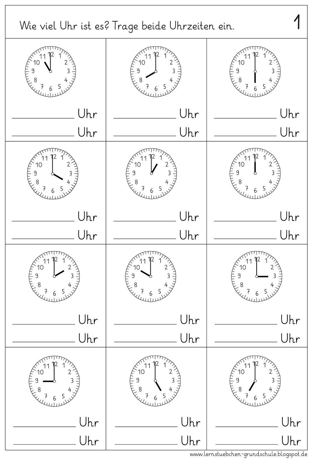 Im Matheunterricht Beschaftigen Wir Uns Mit Der Uhr Und