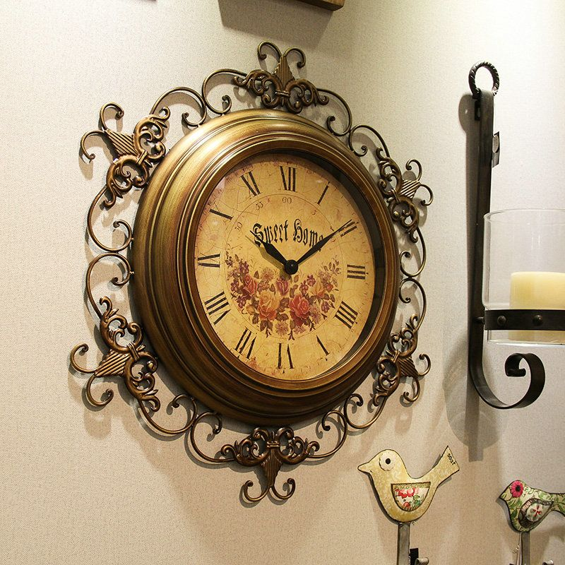 Vintage Wall Clock Non Ticking Metal Lace Wall Clock Vintage