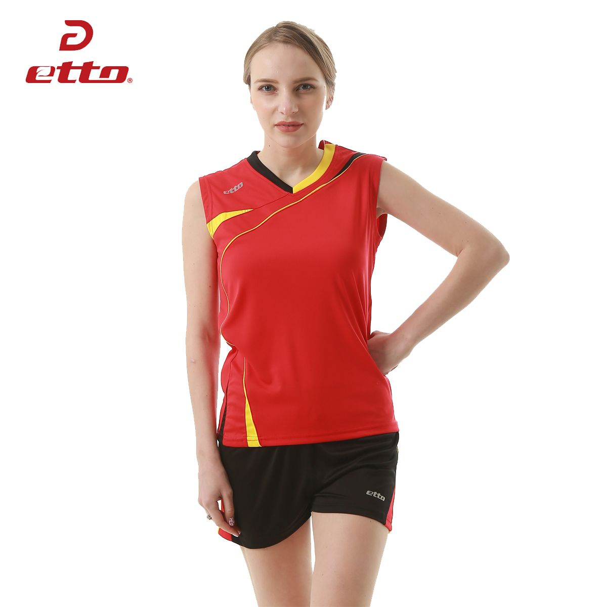 Etto Professional Volleyball Jersey Sets For Women Quick Dry Breathable Volleyball Team Training Unifo Professional Volleyball Team Training Athletic Tank Tops