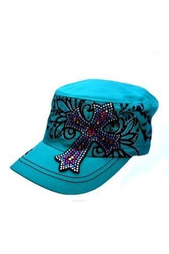 coupon kb ethos womens hats ladies kb ethos multi colored rhinestone cross  hat teal 2831b d6cb0 76e5e44285
