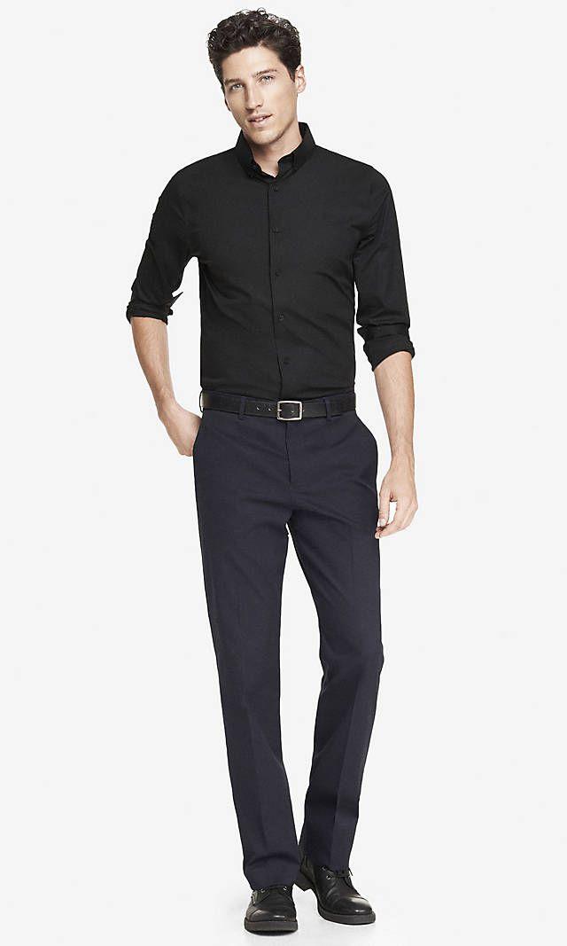 H m black dress shirt young