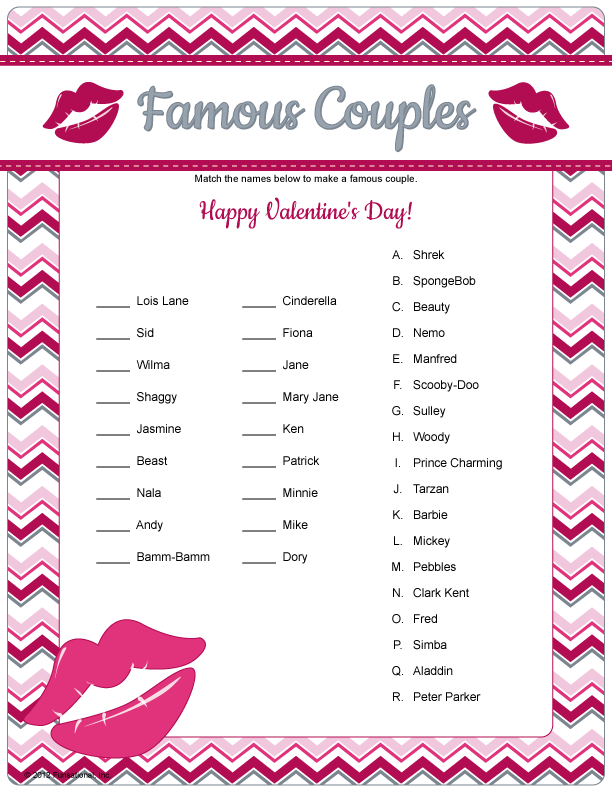 Famous Couples Game Printable Valentine S Game Or Have