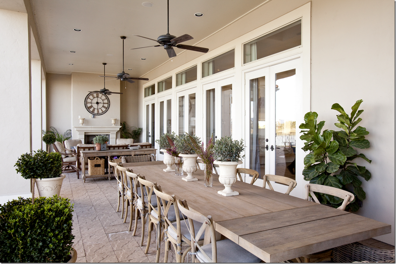 Covered Porch Has A Huge Table That Seats 14 Other End Is A Seating Area And Fireplace Outdoor Living Space Outdoor Rooms Outdoor Dining Table