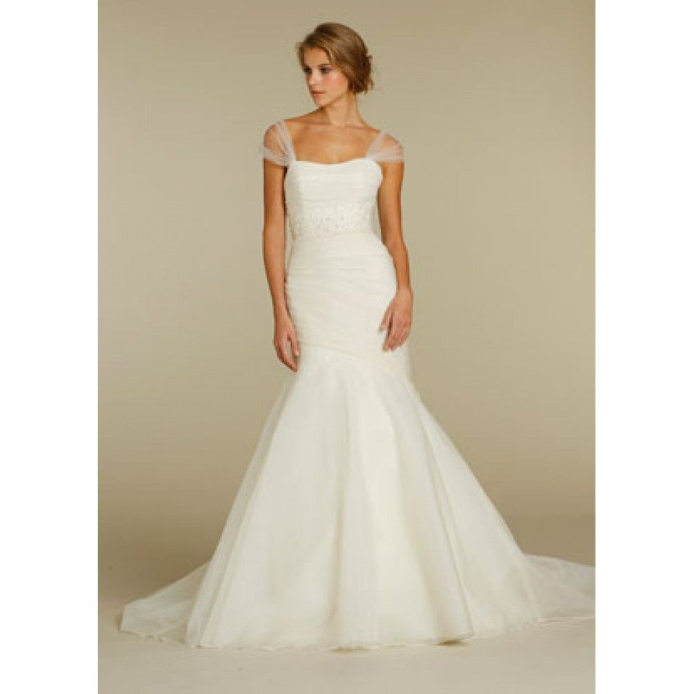 Alvina valenta bridal strapless silk organza fit n flare for Where to get my wedding dress preserved
