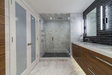 White under-mount bathroom sink, Project: Blue Condominium - modern - Bathroom - Miami - Alena Capra Designs