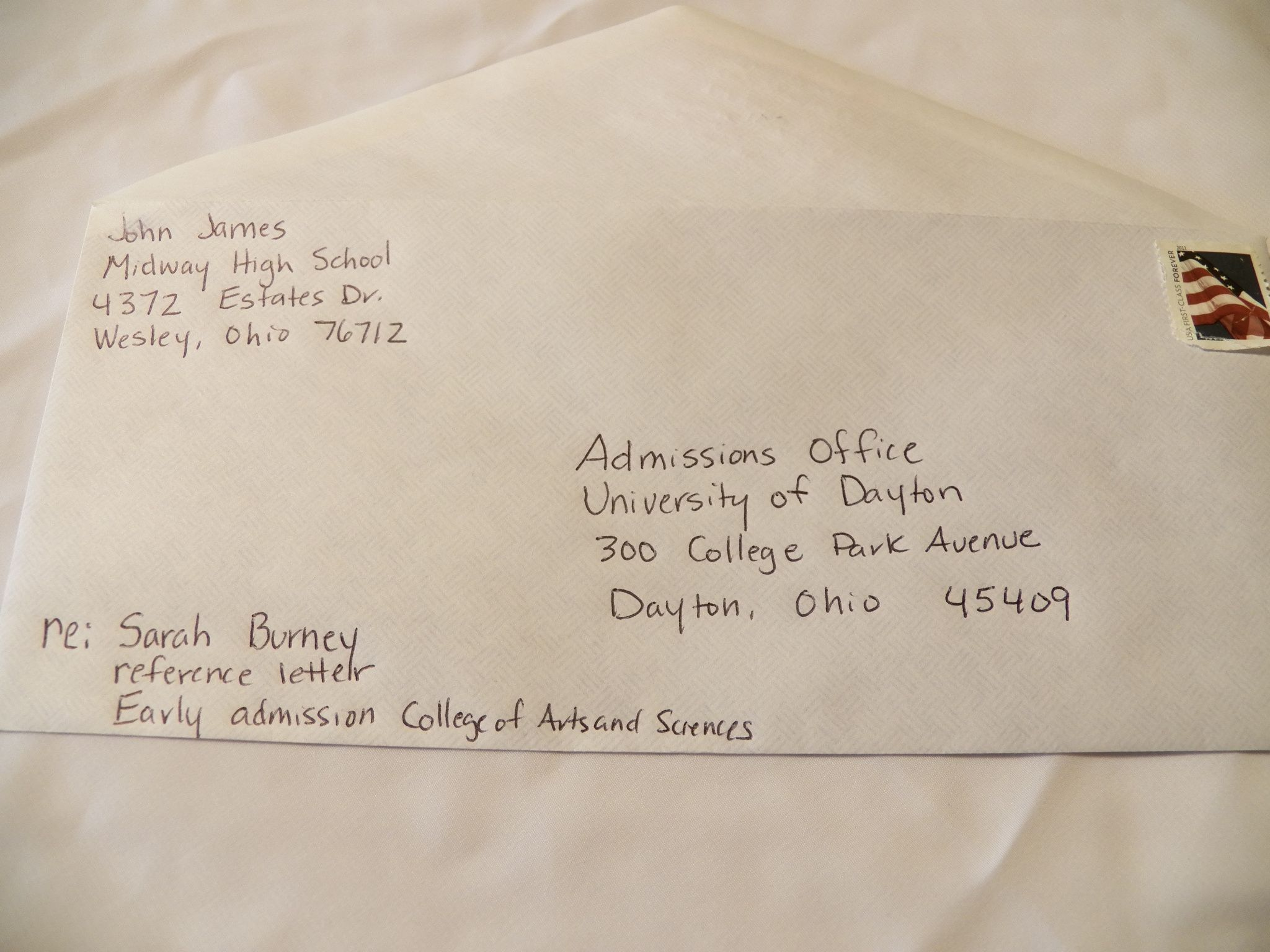 how to address envelopes for college recommendation letters
