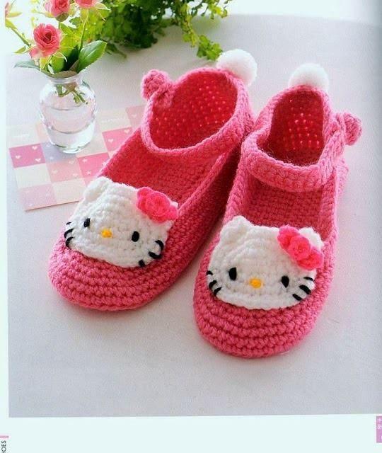 Hello Kitty Slofjes Haken Voor Baby En Kind Pinterest Tricot
