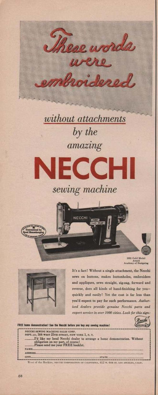 Necchi Sewing Machine 1951 Vintage Ads Pinterest Bu Threading Diagram