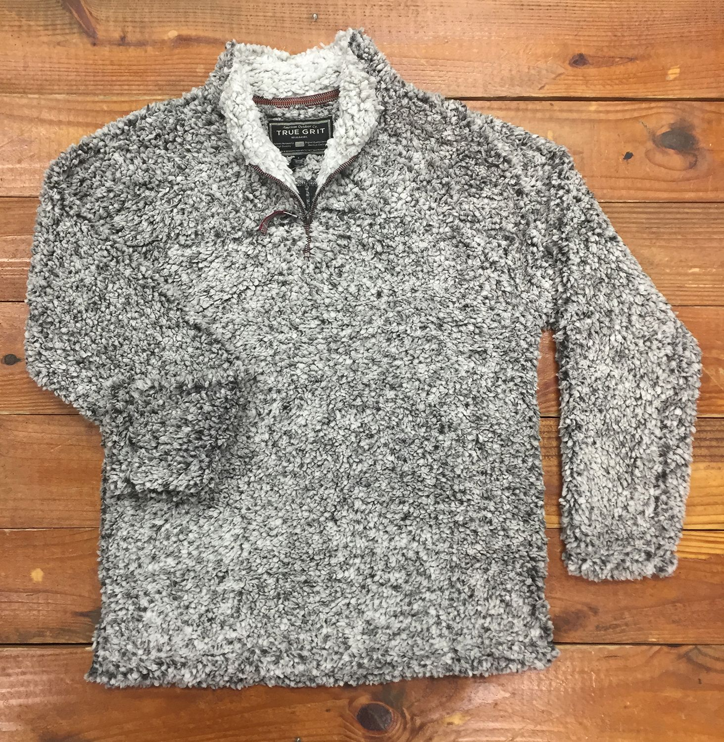True Grit Frosty Tipped Pile Pullover In Charcoal Cozy To