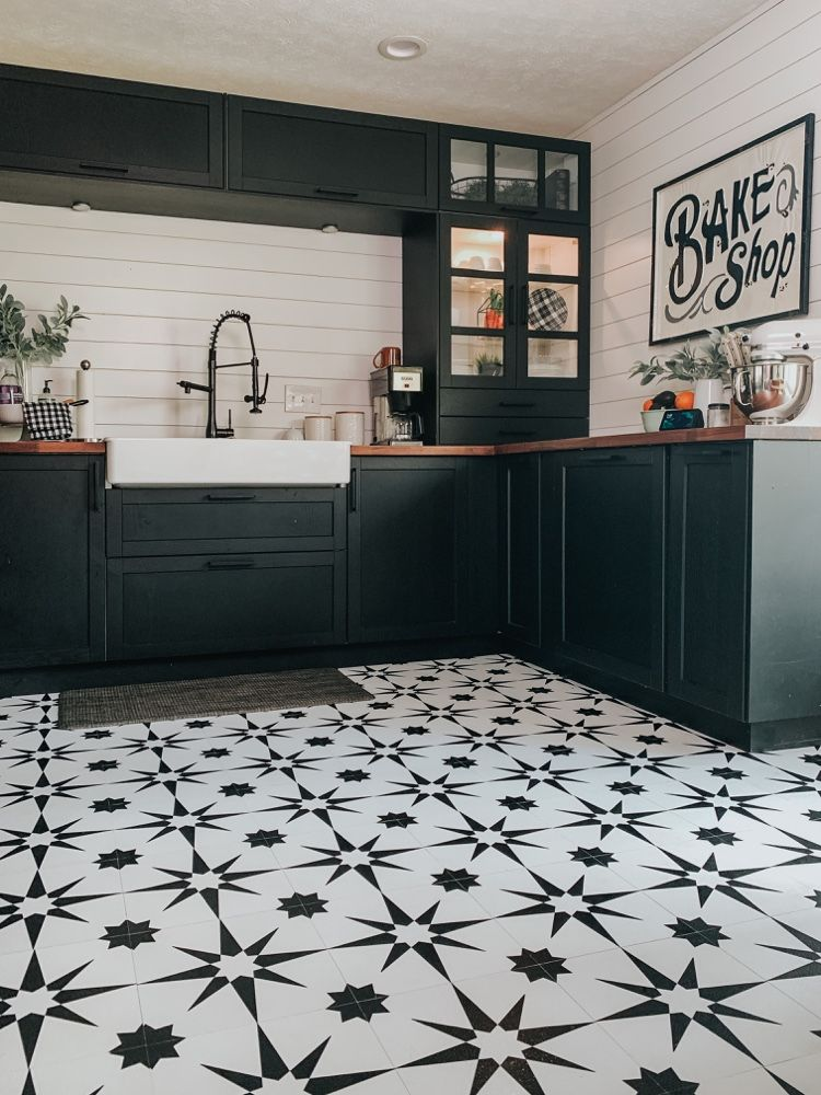 Kitchen Floor Makeover With Floor Pops Altair Tiles Patterned Kitchen Tiles Vintage Tiles Kitchen Kitchen Floor Tile Patterns