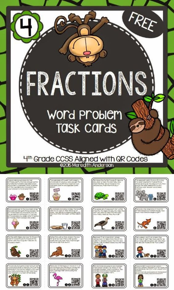 Fractions Task Cards.    Fractions! This is a set of 16 word problem task cards. These can be used for either 3rd or 4th graders, or even as review for your 5th graders. All of the cards have a QR code for self-checking. In my paid task card resources, all cards are also included without QR codes. Feel free to darken out the QR codes or cover them with a sticker if you are not able to use them in your classroom.
