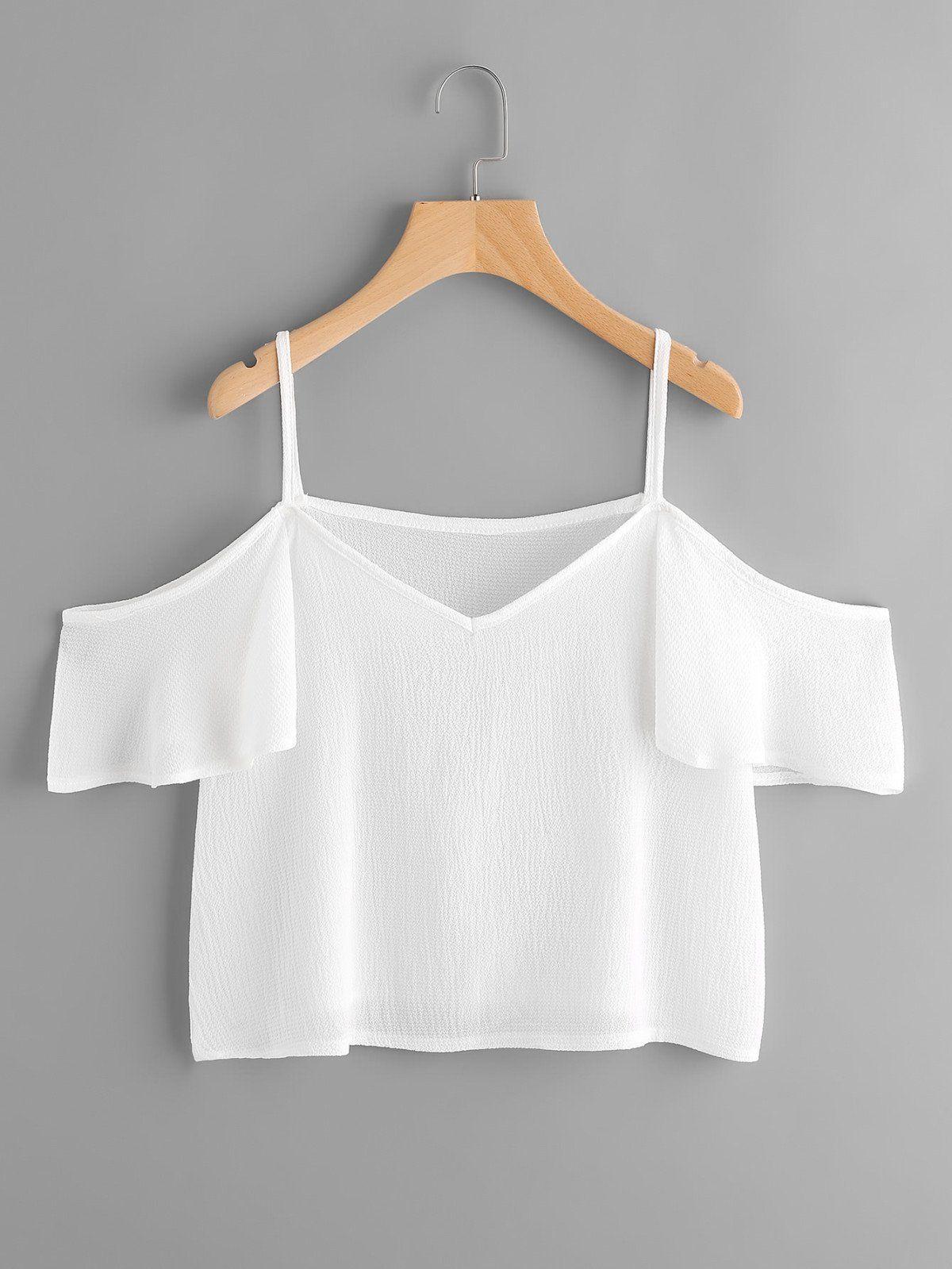 Cold shoulder frill sleeve top online shop community pinterest