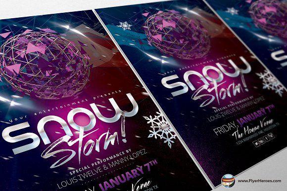 Snow Storm Flyer Template by FlyerHeroes on @creativemarket Winter