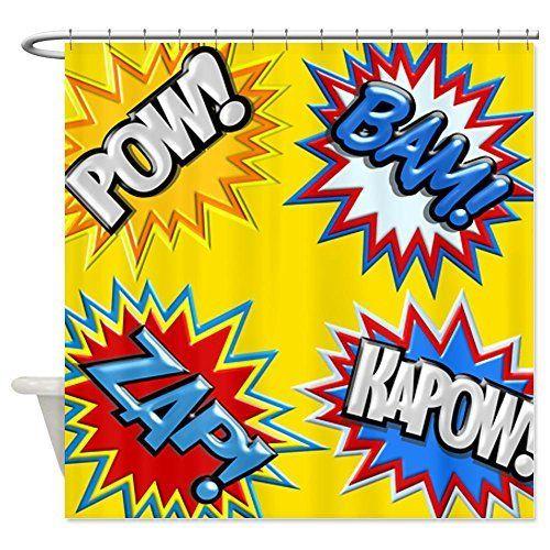 Comic Book Bursts Yellow 3D Shower Curtain - Super Hero Shower ...