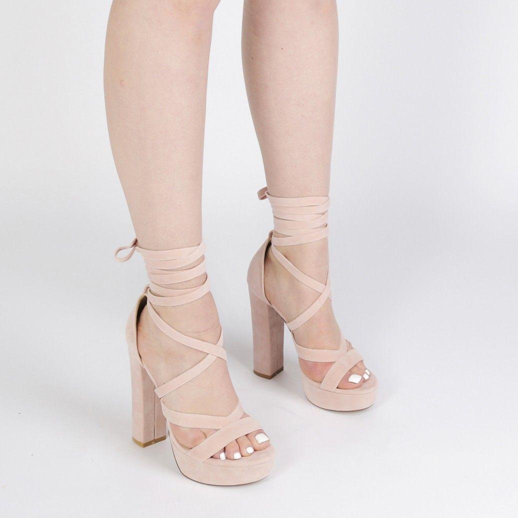 2ec9dfb18fd Stella Lace Up Heels in Dusky Pink Faux Suede in 2019 | Presents ...